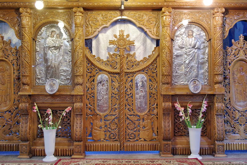 Altar in orthodox church stock photography