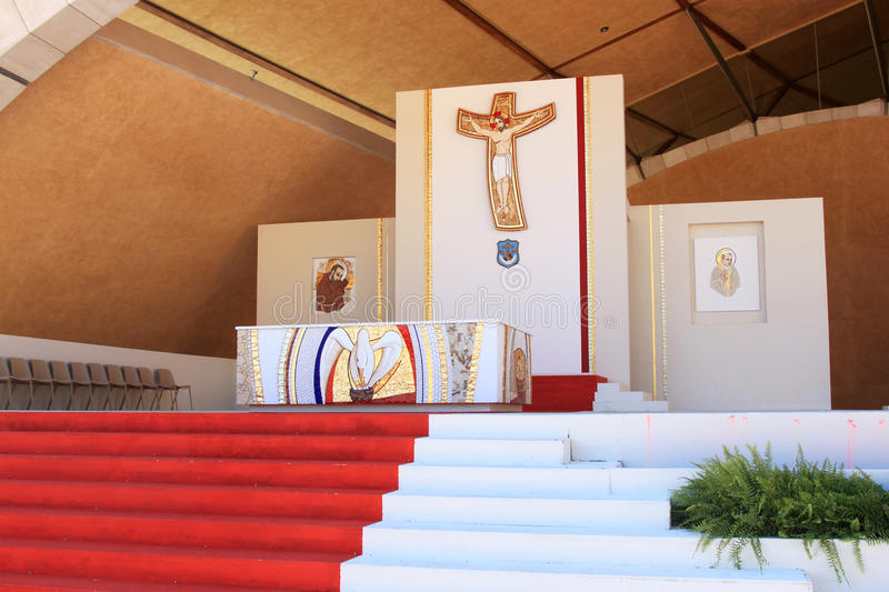 Altar outside Padre Pio Pilgrimage Church, Italy. The Padre Pio Pilgrimage Church is a church in the Italian town San Giovanni Rotondo owned by the Ordine dei royalty free stock photos