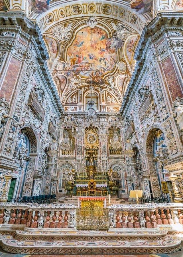 Altar principal na igreja de Santa Caterina em Palermo Sicília, Itália do sul imagem de stock royalty free