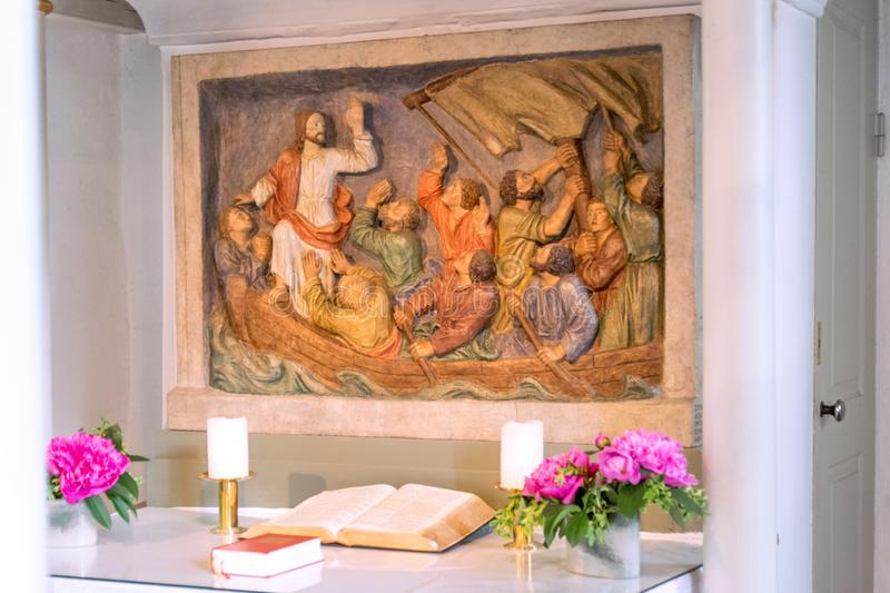 Altar relief in the Schifferkirche to Arnis royalty free stock photos