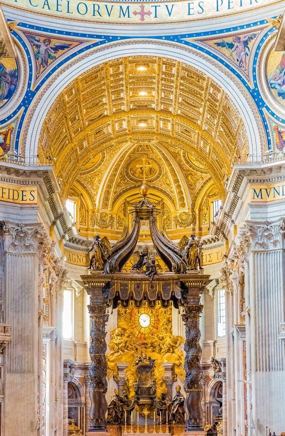 The altar of Saint Peter`s Basilica in Vatican. Vatican city, Vatican - October 12, 2016: Bernini`s Baldacchino Altar in the Saint Peter`s Basilica in Vatican stock photo