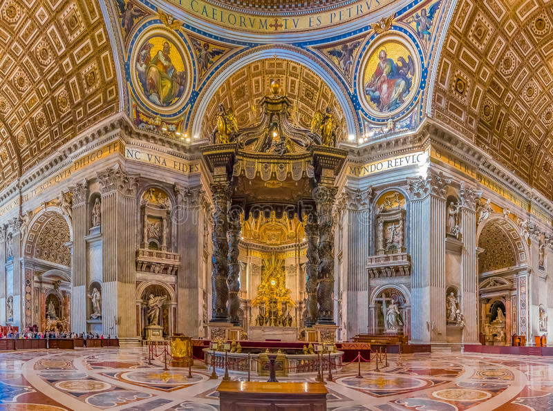 The altar of Saint Peter`s Basilica in Vatican stock photo