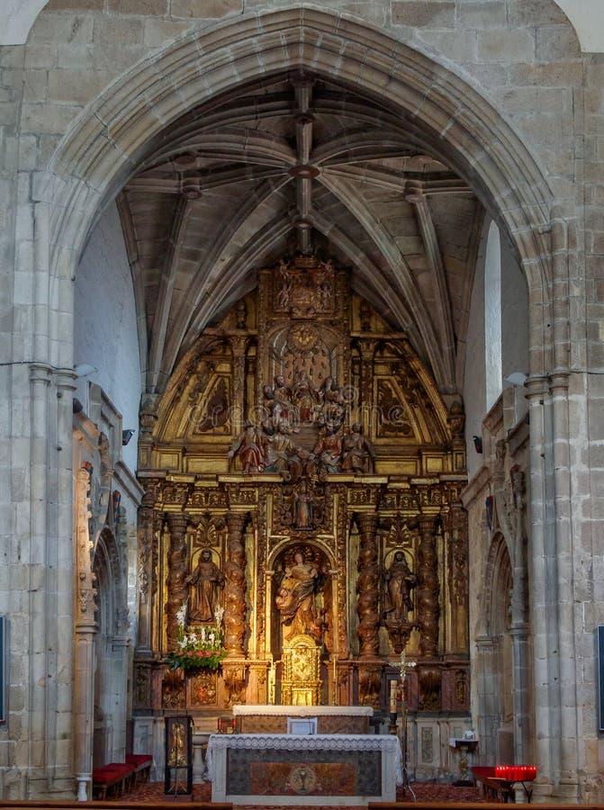 Sancti Spiritus Church - Melide. Altar of Sancti Spiritus Church of the Third Franciscan Order - Melide, Galicia, Spain stock photography