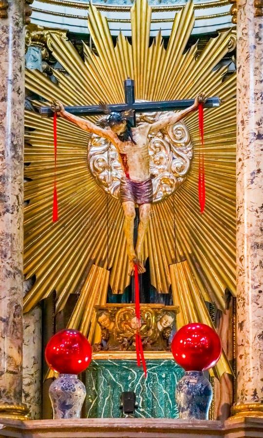 Altar Santo Domingo Church Mexico City Mexico de la crucifixión de Cristo imagenes de archivo