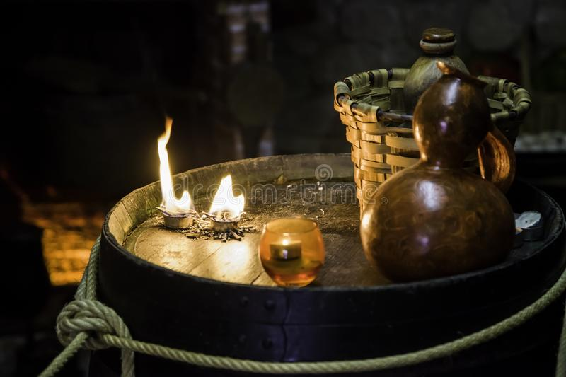 Altar for satanic rituals. Witchcraft detail, occultism and sect stock photography