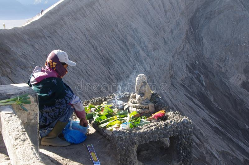 Altar on side of the Bromo volcano in Indonesia royalty free stock photos