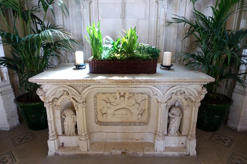 The altar in St Huberts Chapel in the grounds of Amboise Chateau in the Loire Valley, France stock photography