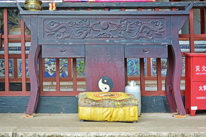Altar at a Taoist temple stock images