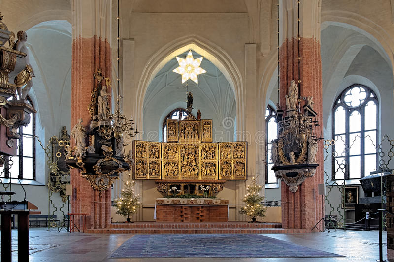 Altar of the Vasteras Cathedral royalty free stock image