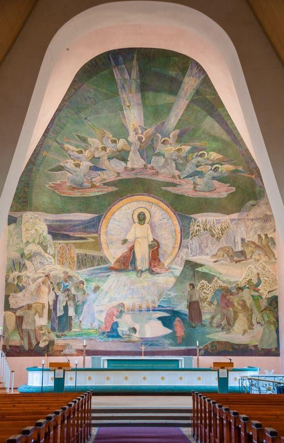 Altare av den Rovaniemi kyrkan, finlandssvenska Lapland, Finland royaltyfri fotografi