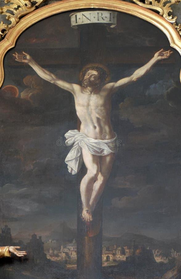 Altare av helgedomkorset, Mariahilf kyrka i Graz royaltyfria bilder