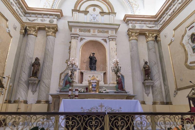 Altare av Iglesia LaMerced den gamla staden, Panama City, Panama arkivfoton