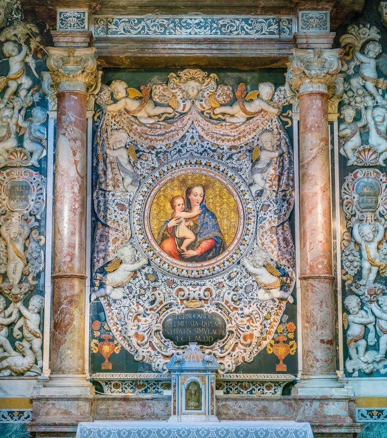 Altare av renheten i kyrkan av den San Giuseppe deien Teatini i Palermo Sicilien sydliga Italien royaltyfri foto