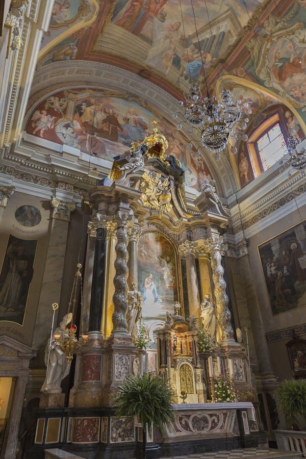 Altare in chiesa francescana dell'annuncio Transferrina, Slove fotografia stock libera da diritti