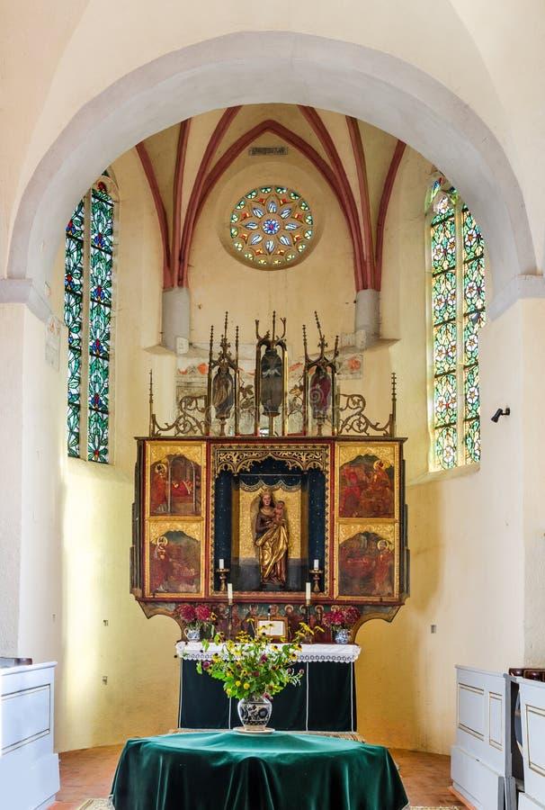 Altare della chiesa di Cisnadie, Romania immagini stock
