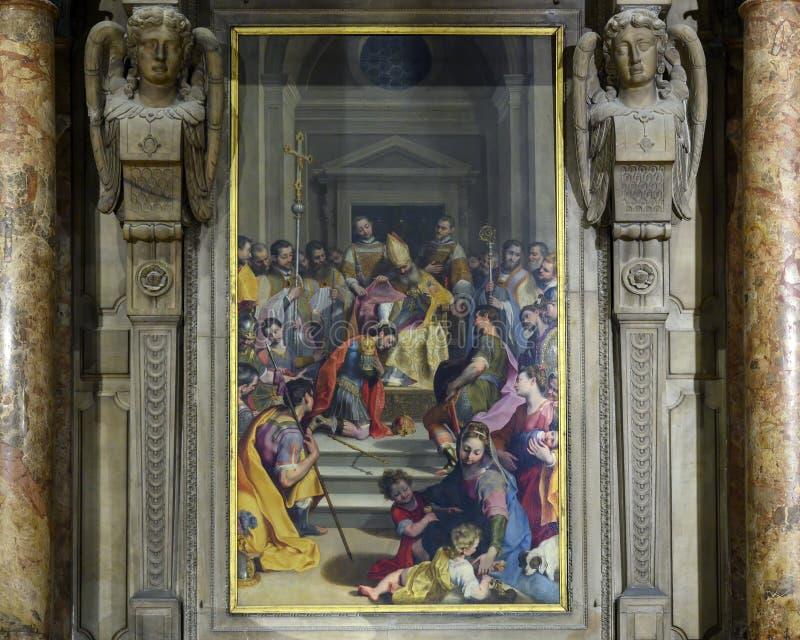Altare di St Ambrose in Milan Cathedral, Italia immagini stock