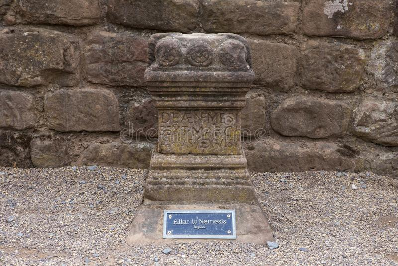 Altare a Nemesis a Roman Amphitheatre a Chester fotografie stock libere da diritti