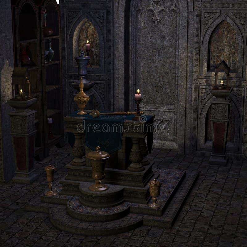 Altare o sanctum arcaico in una regolazione di fantasia illustrazione vettoriale