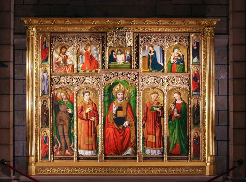 Altarpiece St Nicolas в соборе Монако стоковая фотография rf