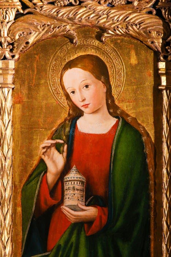 Altarpiece St Nicolas в соборе Монако - Mary Magdalene стоковое изображение rf