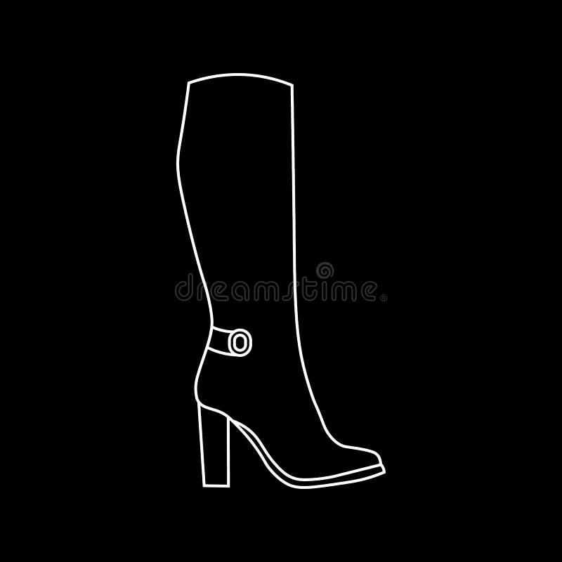 Altas botas femeninas aisladas en fondo negro ilustración del vector
