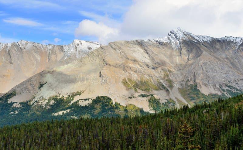 Altas montañas de las montañas rocosas canadienses a lo largo de la ruta verde de Icefields entre Banff y el jaspe fotografía de archivo