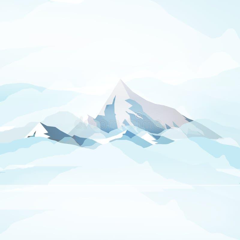 Altas montañas del invierno en las nubes - ejemplo del vector libre illustration