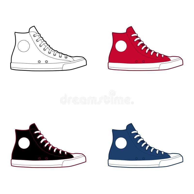 Altas zapatillas de deporte superiores 1 ilustración del vector
