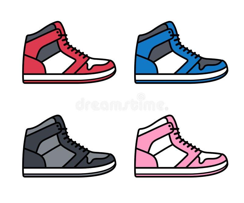 Altas zapatillas de deporte superiores fijadas libre illustration