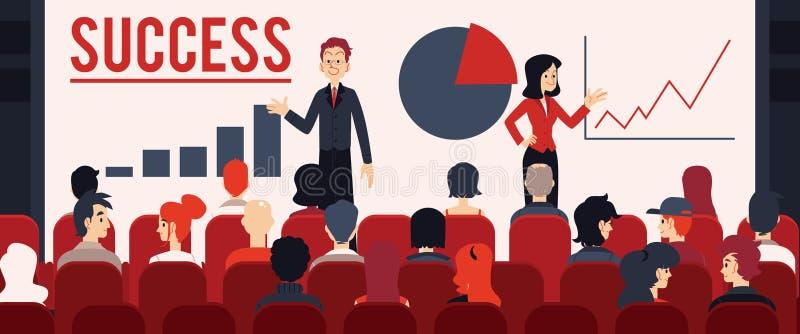 Altavoces del vector dos delante del concepto de la audiencia stock de ilustración