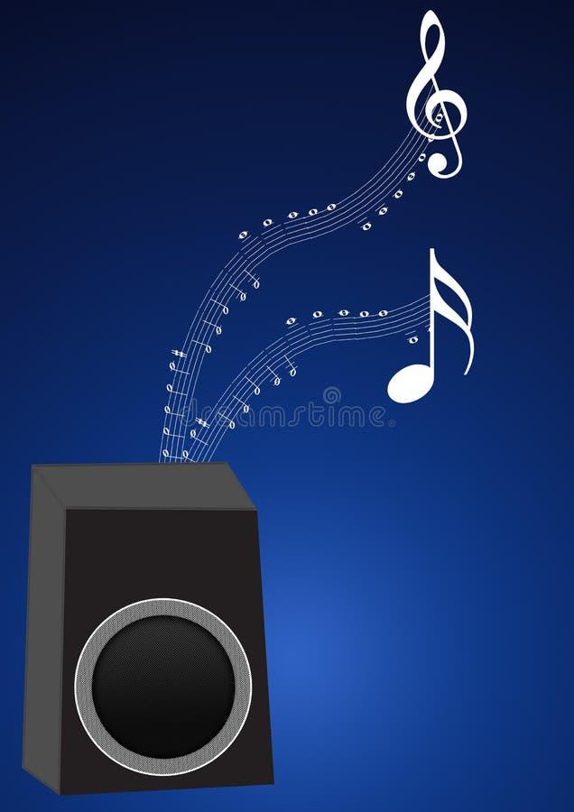 Altavoz con las notas de la música stock de ilustración