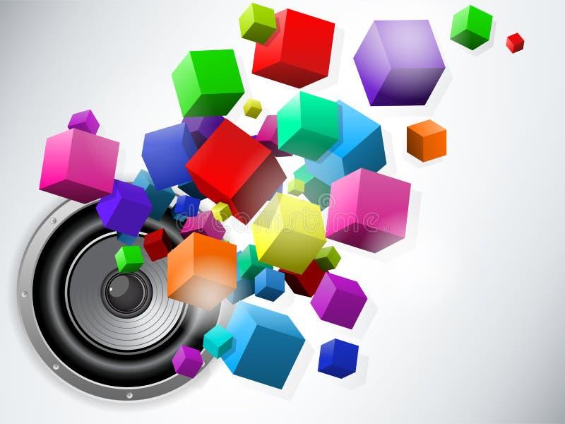 Altavoz con los cubos que fluyen ilustración del vector