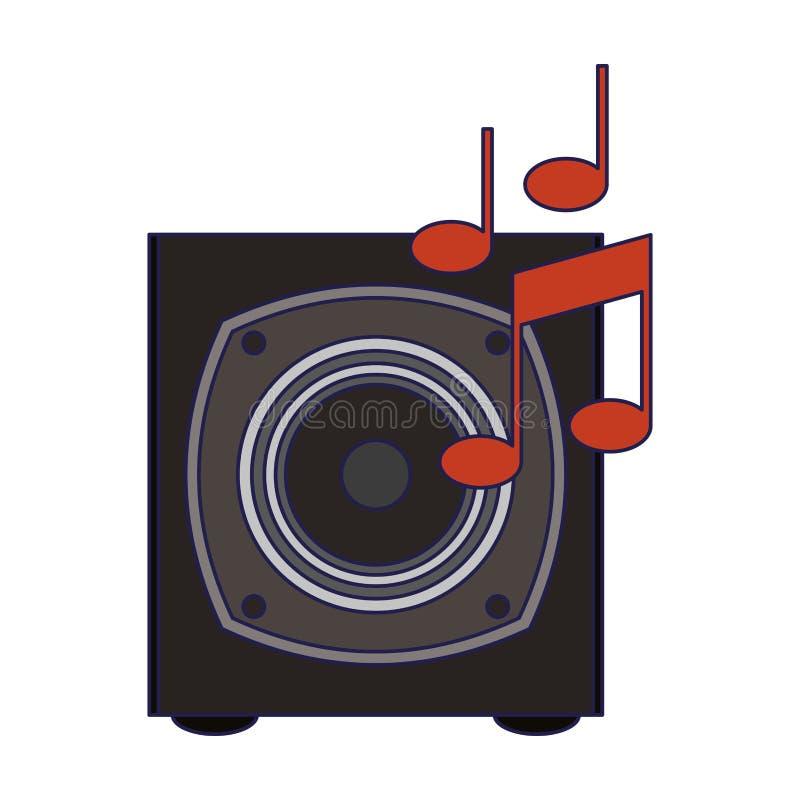 Altavoz de la música con las notas stock de ilustración
