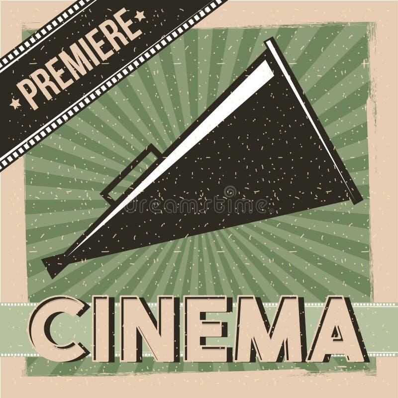 Altavoz del director del vintage del cartel de la premier del cine stock de ilustración