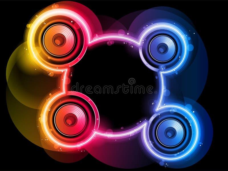 Altavoz del disco con el círculo de neón del arco iris ilustración del vector