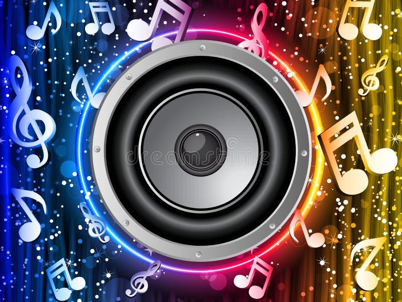 Altavoz del disco con las notas de la música libre illustration