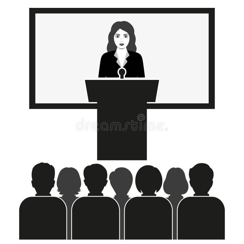 Altavoz del seminario del negocio que hace la presentación a los estudiantes en la audiencia libre illustration