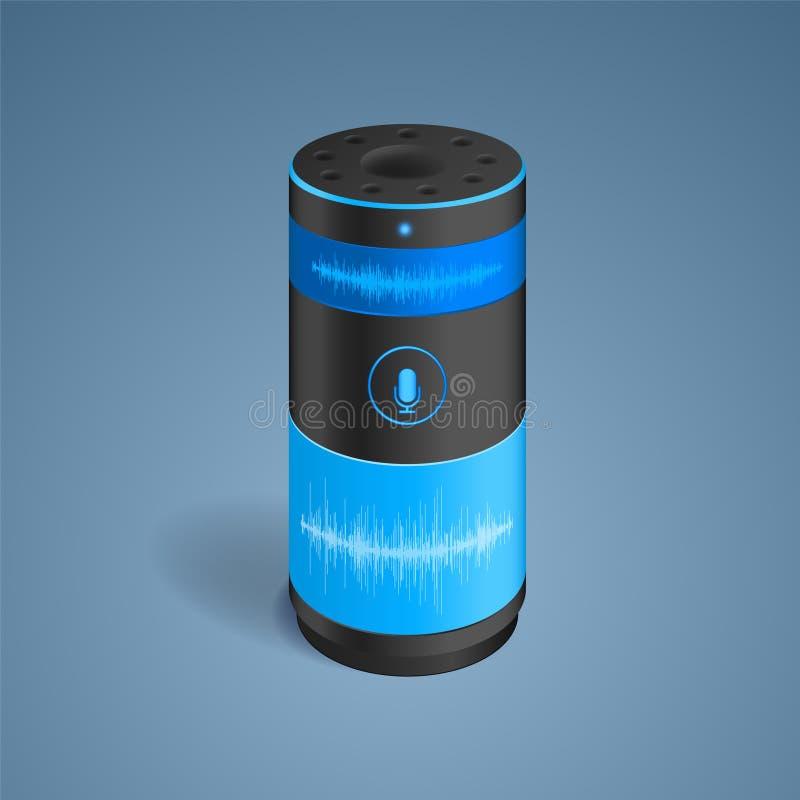 Altavoz elegante con control de la voz stock de ilustración