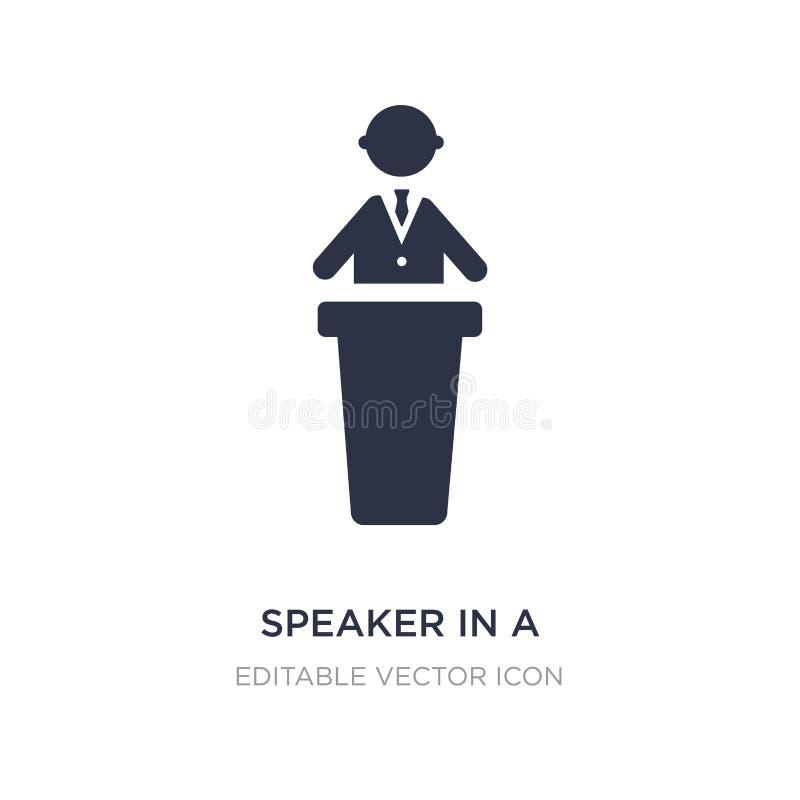 altavoz en un icono de la conferencia en el fondo blanco Ejemplo simple del elemento del concepto de la gente ilustración del vector