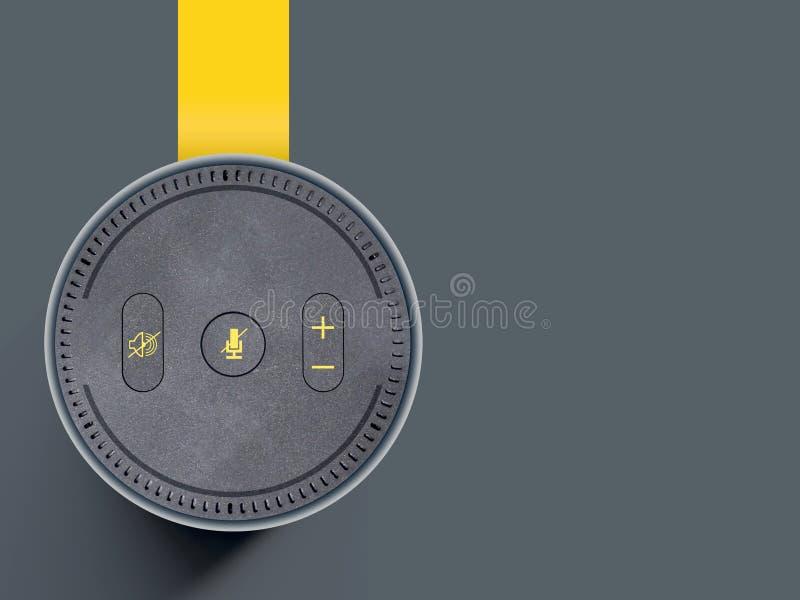 Altavoz inalámbrico, dispositivo auxiliar de la voz en un fondo gris llano, con la cinta amarilla