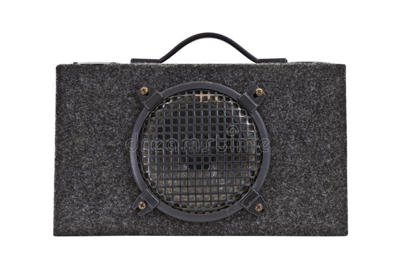 Altavoz para bajas audiofrecuencias audio del rectángulo de auge del coche de la vendimia aislado fotografía de archivo