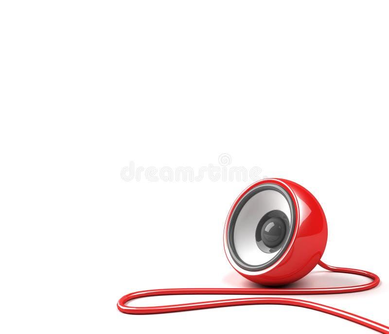 Altavoz rojo con el cable libre illustration