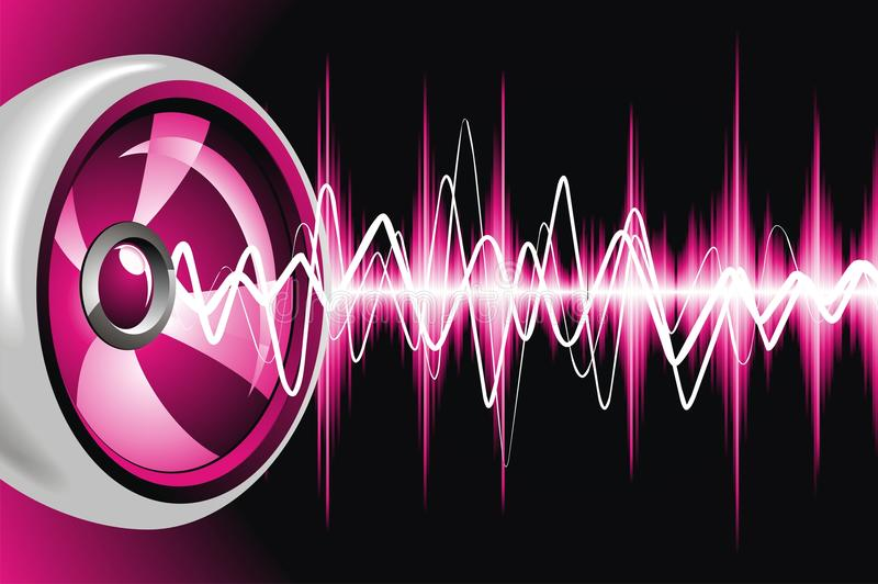 Altavoz y ondas acústicas. stock de ilustración