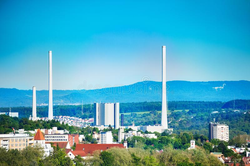 Altbach Power Station near Esslingen in Germany royalty free stock photo
