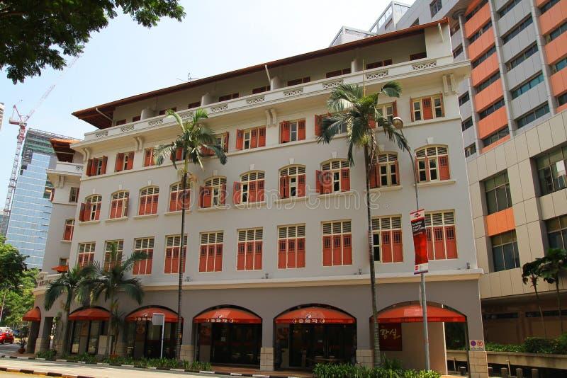 Altbauten, Singapur - 10. April 2016 Altbauten gelegen lizenzfreie stockfotos