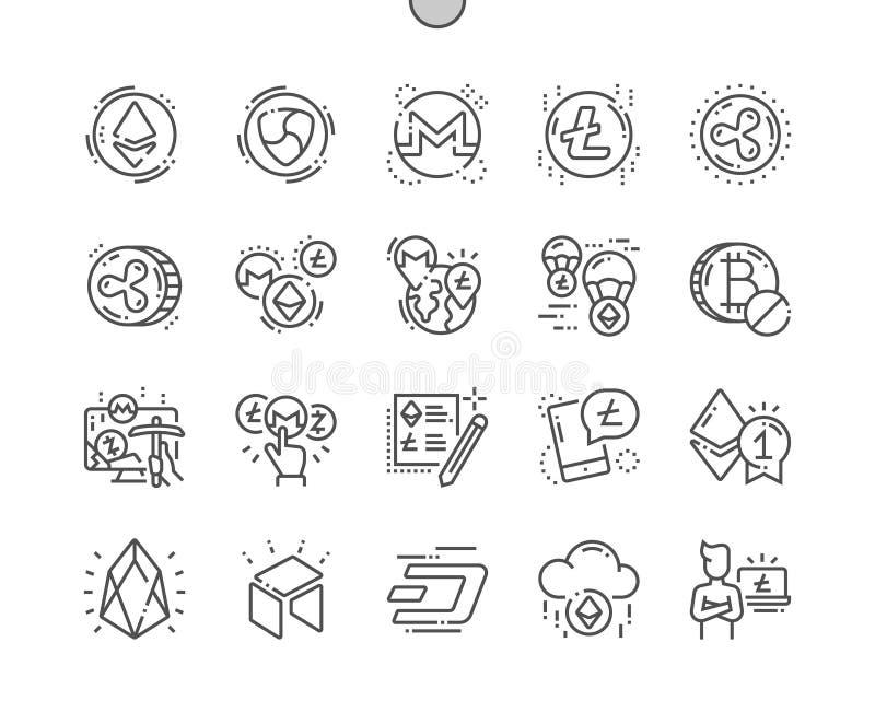 Altcoin Bien-hizo la línea fina rejilla 2x de los iconos 30 del vector a mano perfecto del pixel para los gráficos y Apps del web stock de ilustración
