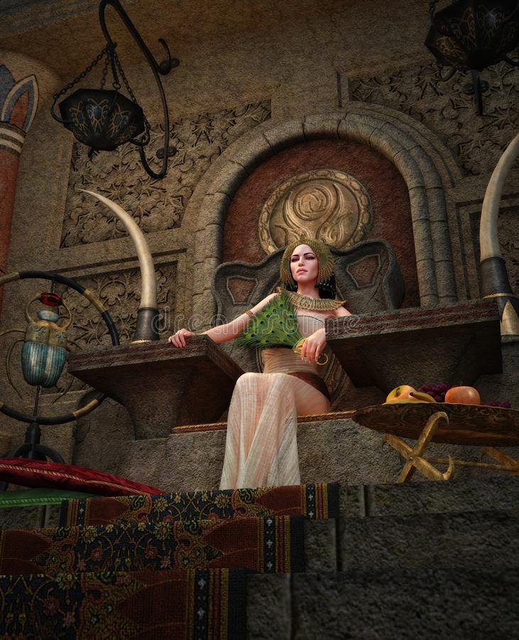 Alte ägyptische Königin im Thronraum, 3d CG vektor abbildung