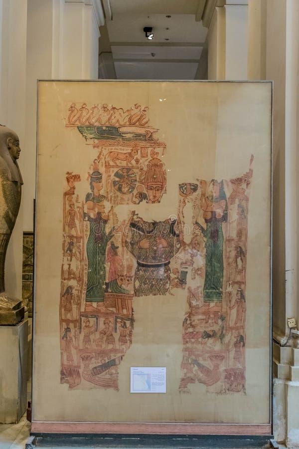 Alte ägyptische Malerei im Museum lizenzfreies stockbild