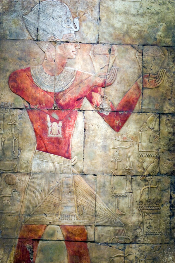Alte ägyptische Tempel-Kunst stockfotos