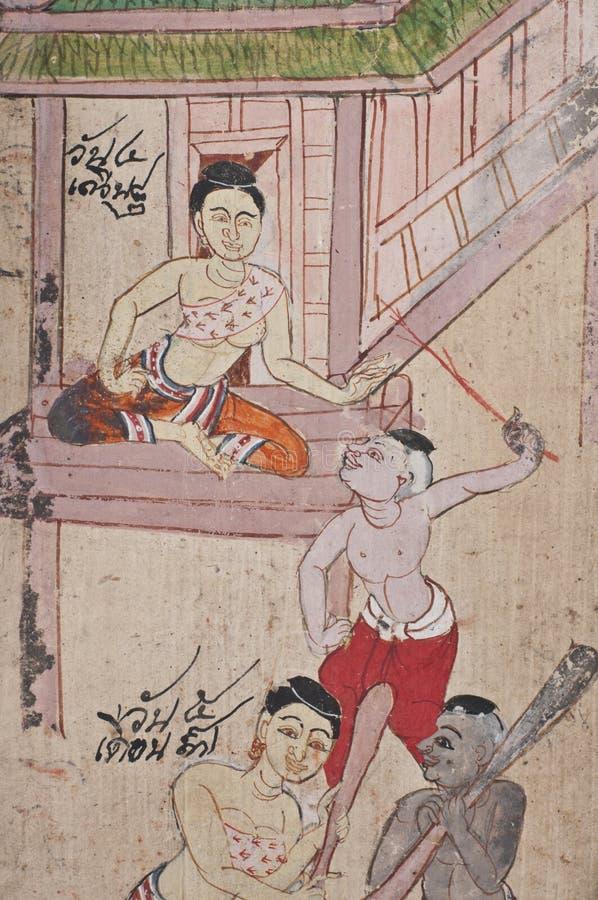 Alte Abbildung von Thailand stockbilder